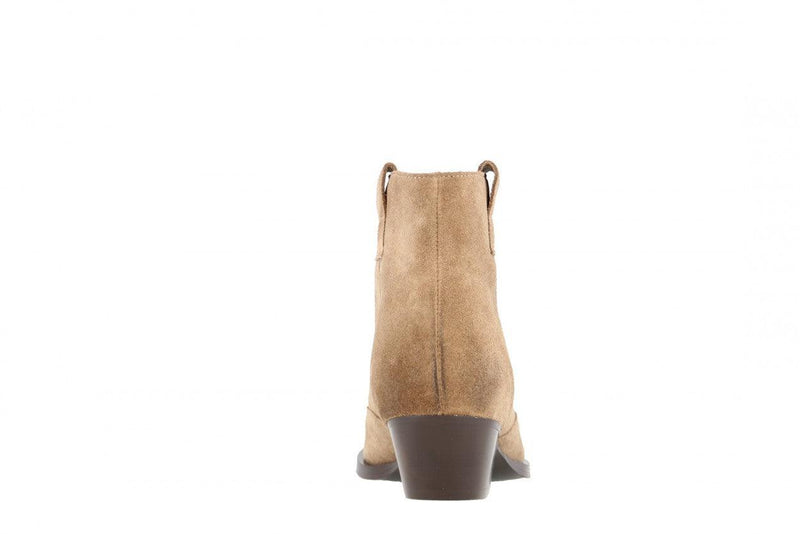 Nina oblique 1-d taupe brushed suede western boot - dark brown heel/sole