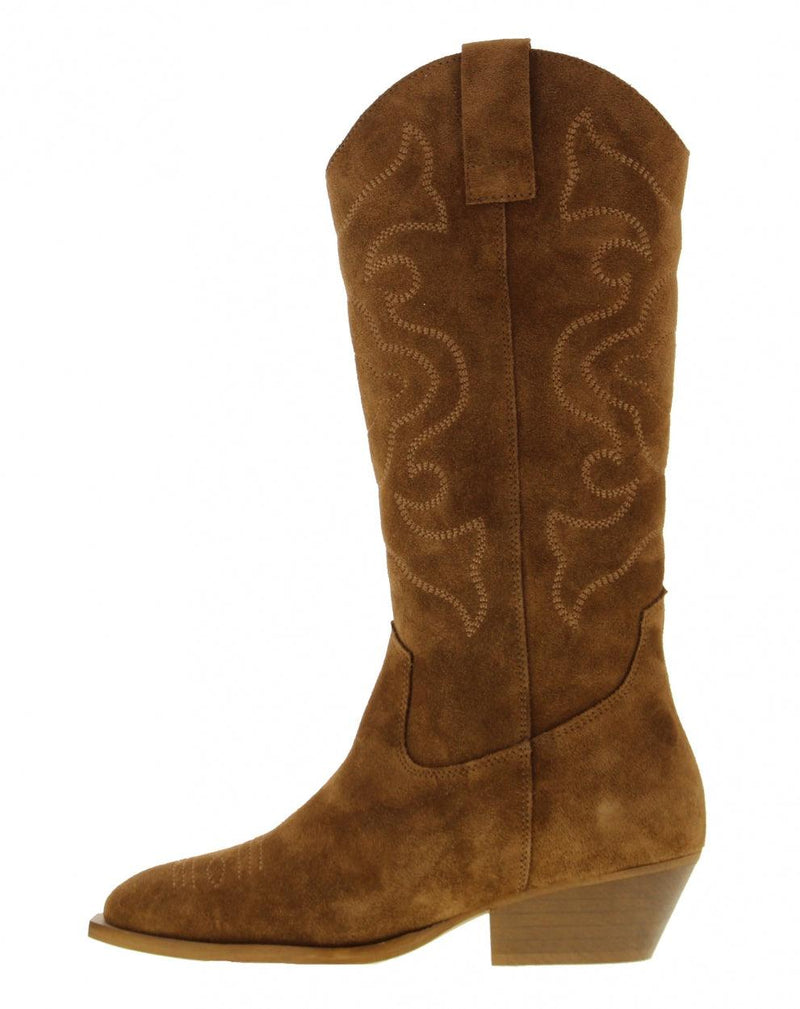 Nina oblique 7-c high cognac suede western boot - middle wood heel/sole
