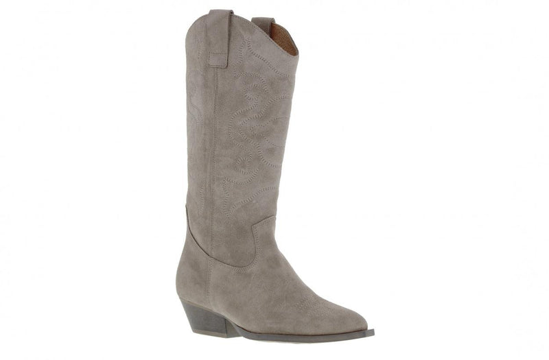 Nina oblique 7-d high taupe suede western boot - natural heel/sole