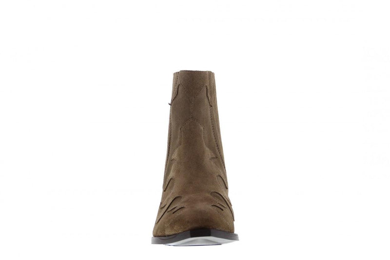 Nina oblique 9-b taupe suede western boot - wooden heel/sole