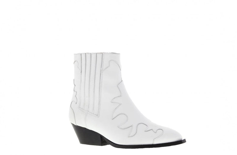 Nina oblique 9-d zusjes tilstra white leather western boot - wooden heel/sole