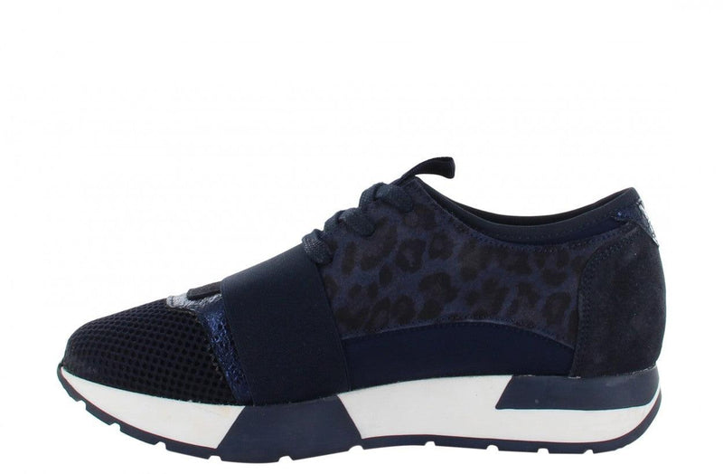 Oona 11-bf navy leopard suede print/neoprene elastic band - navy/white sole