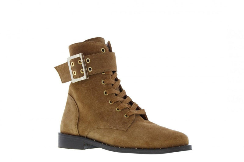 Pleun 24-b cognac suede boot/strap/buckle - dk brown sole/studs welt