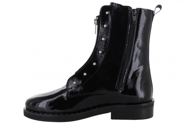 Pleun fat 70-a black leather blind closure boot with zipper - black sole/diamonds welt on