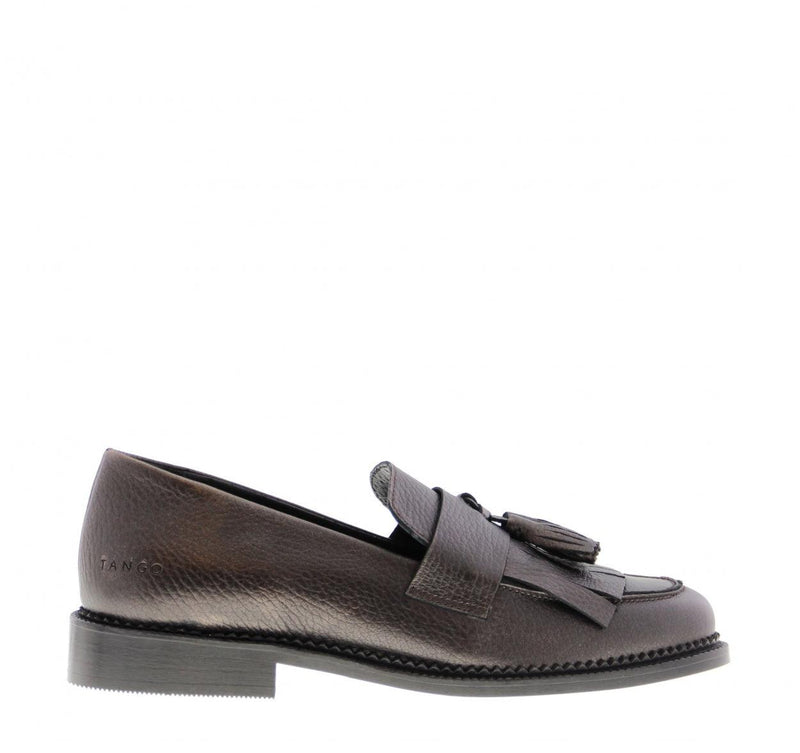 Pleun cartel 85-b rose tumbled leather fringe loafer - black sole