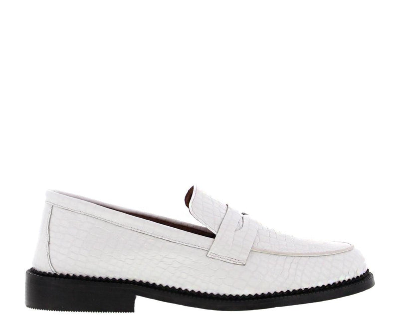 Pleun cartel 92-f Tiany Kiriloff bone white croco patent loafer - black sole