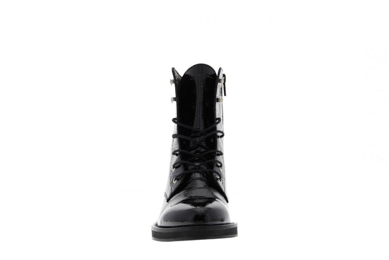 Pleun fat 22-a  black patent croco boot - black sole