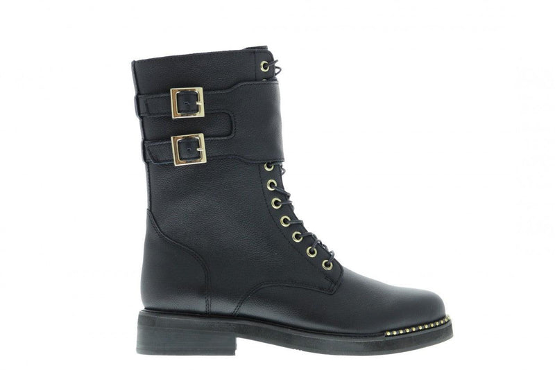 Pleun fat 3140-a p.w black shiny leather high lace up boot/buckles - black sole/partly stu