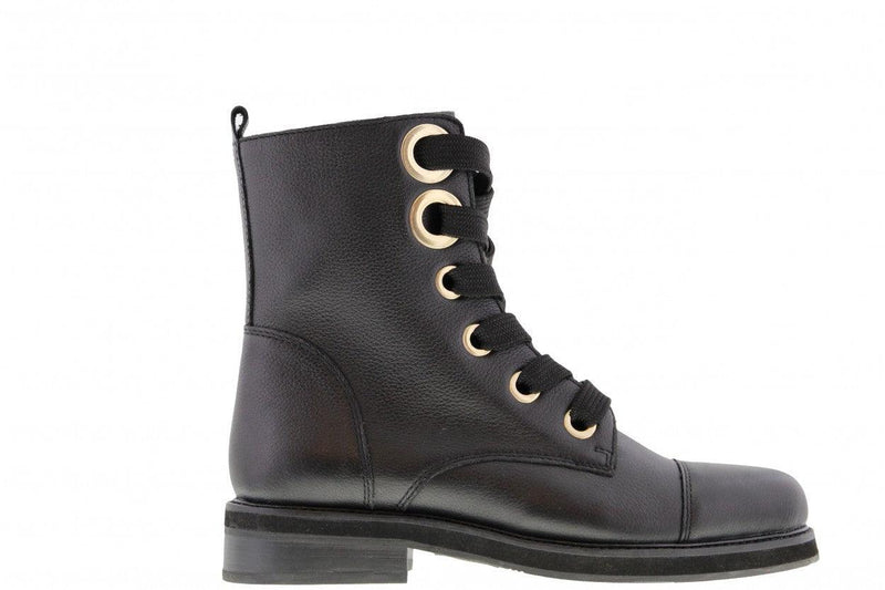 Pleun fat  378-a black leather big rings boot/grossgrain laces - black sole