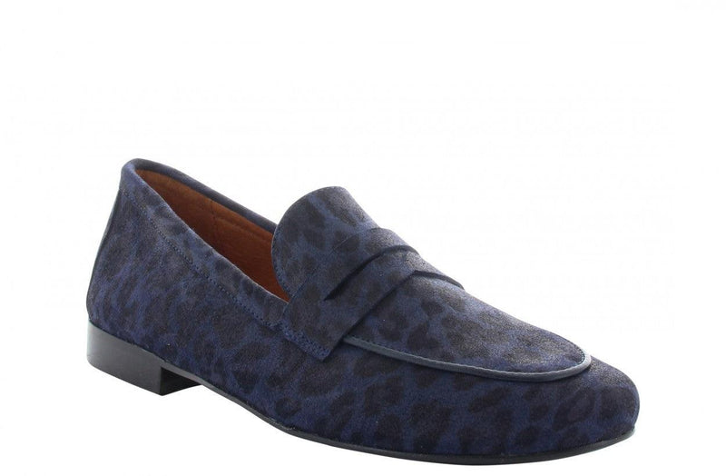 Pleun new 40-ai navy suede leopard loafer - black sole