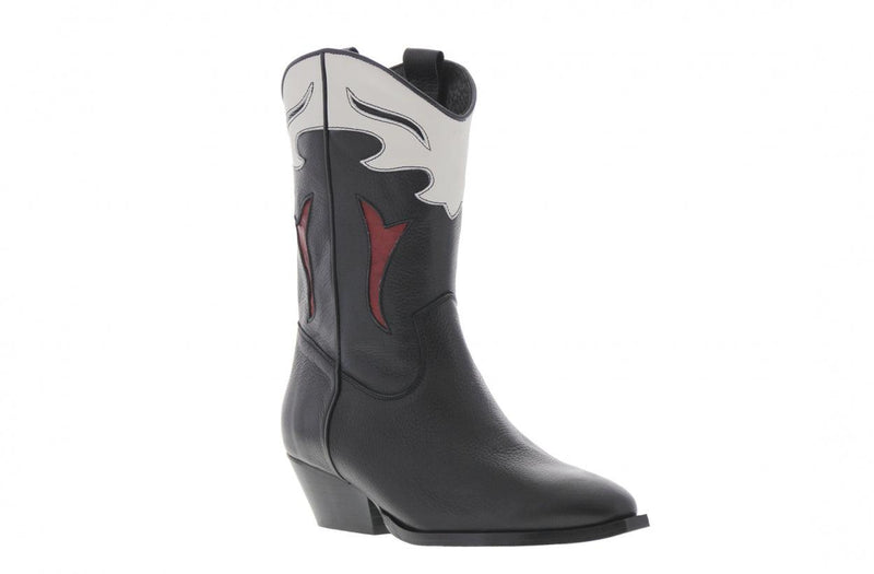 Rosie - de Huismuts black/white/bordeaux leather western boot - black heel/sole
