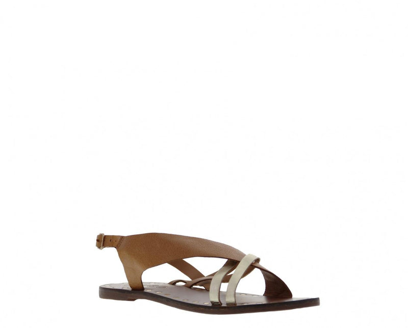 Sally 1-b cognac leather sandal/gold straps - cognac sole/gold studs