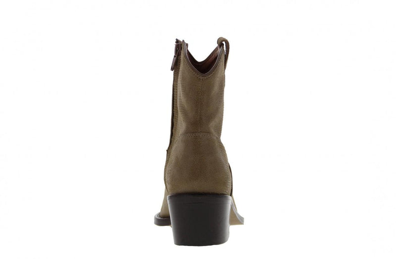 Stella 2-c taupe shiny leather western boot - dk brown heel/sole