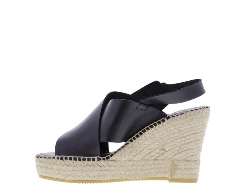 Victoria 1-a black leather wedge cross straps espadrille - high natural outsole