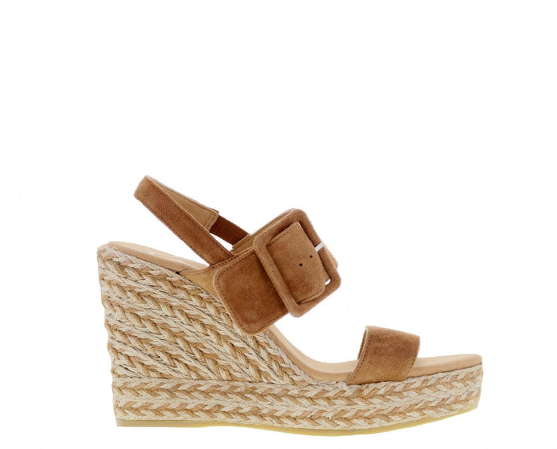 Violet 1-b cognac kid suede/buckle espadrille - high natural outsole