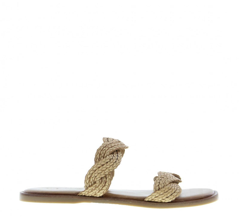 Zoey 1-a natural leather braided straps slippers - cognac sole