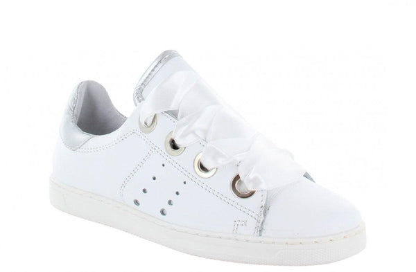 Anna kids 60-a white leather/satin laces/big rings - white sole