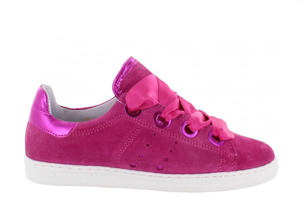 Anna kids 60-b fuchsia suede/satin laces/big rings - white sole