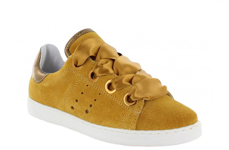 Anna kids 60-d  yellow suede/satin laces/big rings - white sole