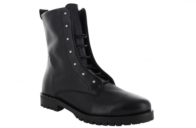 Bee 135-a  black leather blind closure boot with studs - black sole/studs welt on heel