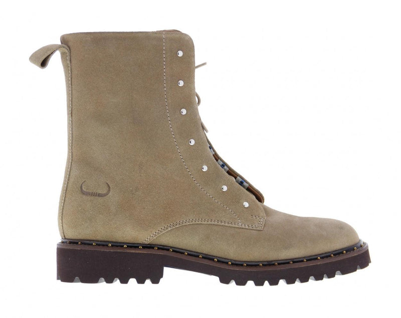 Bee 5135-c taupe suede blind closure boot with studs - dark gum sole/studs wel