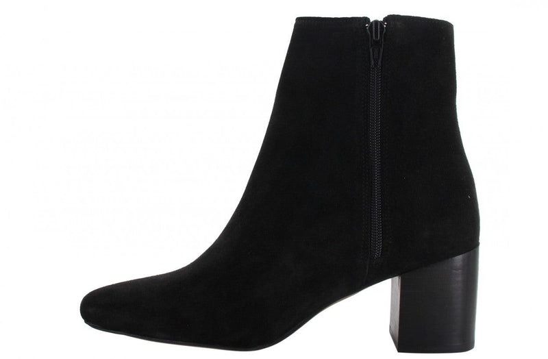 Ella block 11-a black suede basic boot - wooden heel/black sole