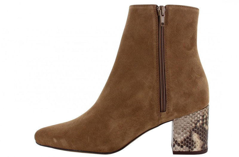 Ella block 21-b p.w cognac suede basic boot - piton heel/brown sole