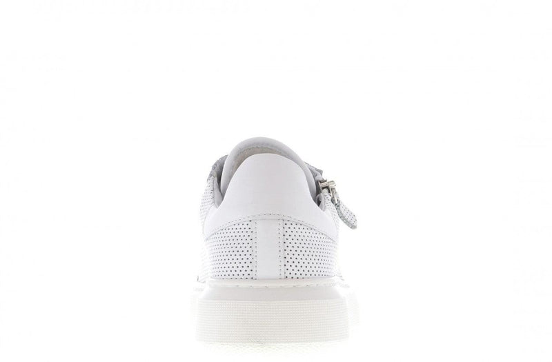 Ingeborg 13-a p/w white perfo leather/zipper - white sole