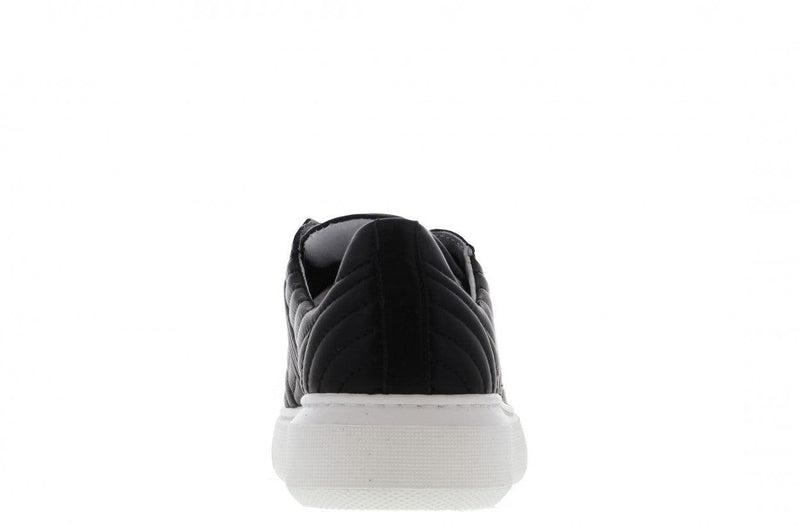 Ingeborg 6-a p/w black leather stitched details sneaker - white sole