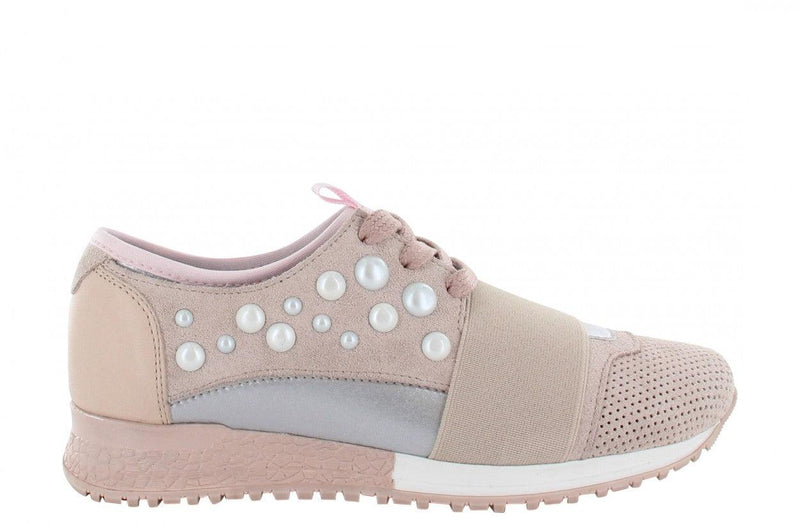 Jessy kids 8-c nude suede/neoprene combi with pearls - white/nude sole
