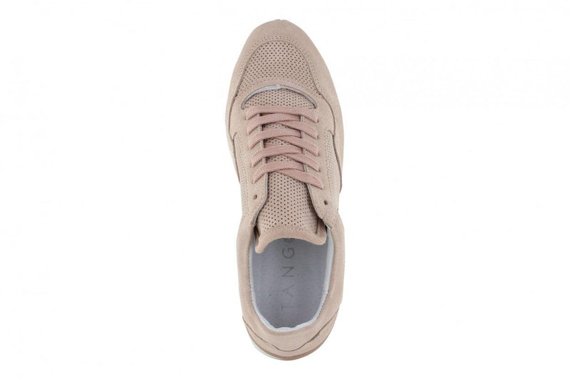 Marike 30-b nude suede perfo combi jogger - white/nude sole
