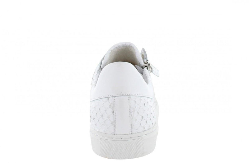 Moniek 1-h white escamado  zipper sneaker - white sole
