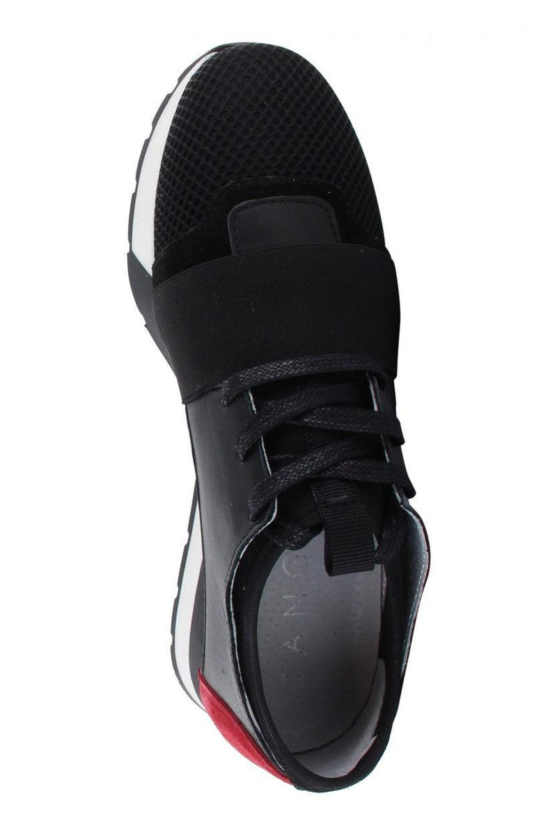 Oona 11-ac black/red metallic/neoprene elastic band - black/white sole