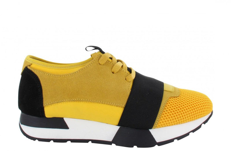 Oona 11-ad yellow/black neoprene elastic band - black/white sole