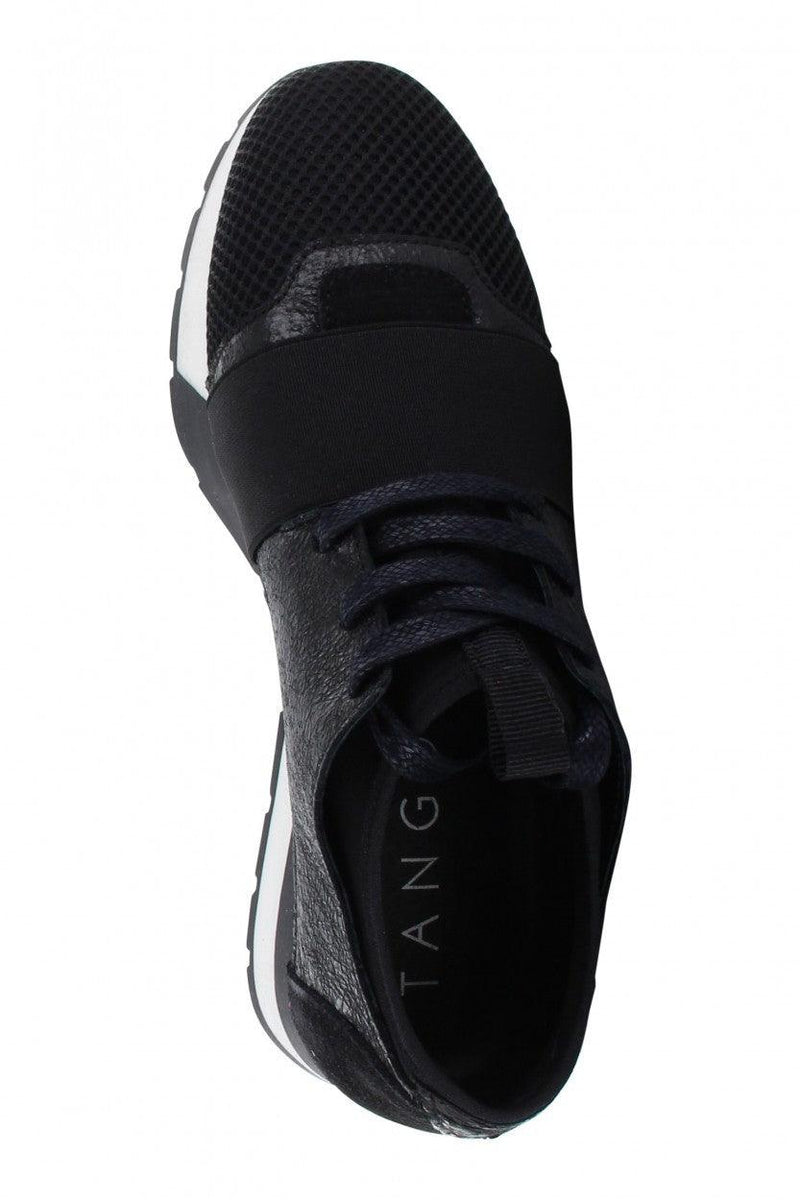 Oona 11-am black crack metallic/neoprene elastic band - black/white sole