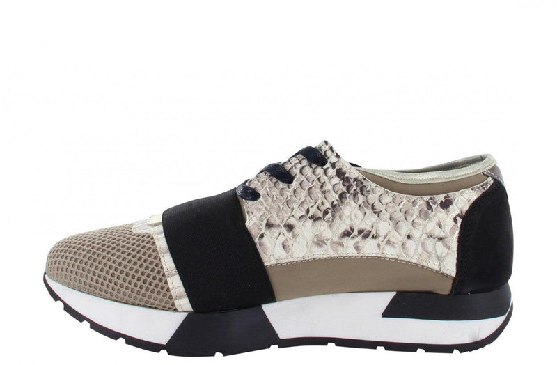 Oona 11-ar beige neoprene/gold snake combi elastic band - black/white/ sole