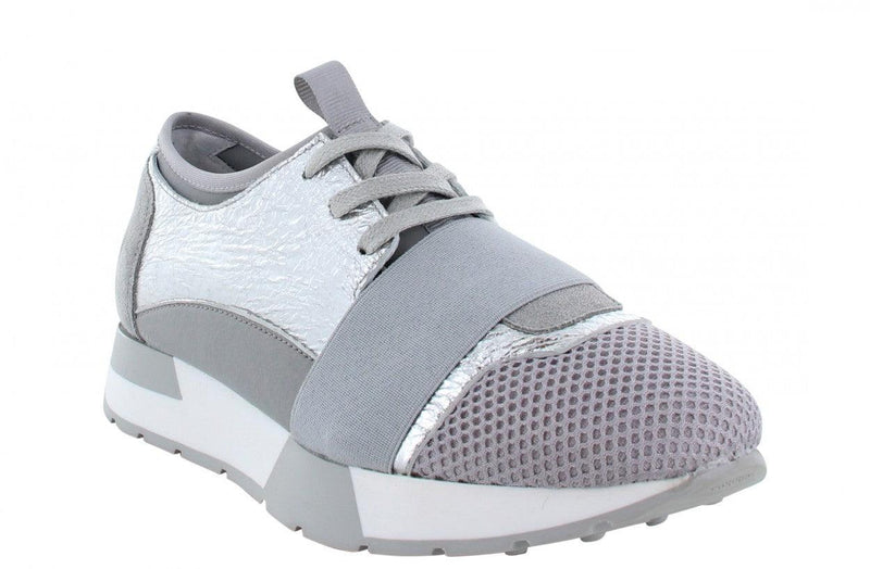 Oona 11-au grey crack metallic/neoprene elastic band - grey/white sole