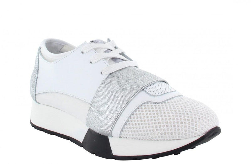 Oona 11-h wit leather neoprene combi/silver elastic - black/white sole