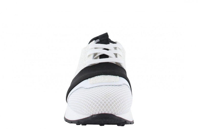 Oona 11-y white/black metallic/neoprene elastic band - black/white sole