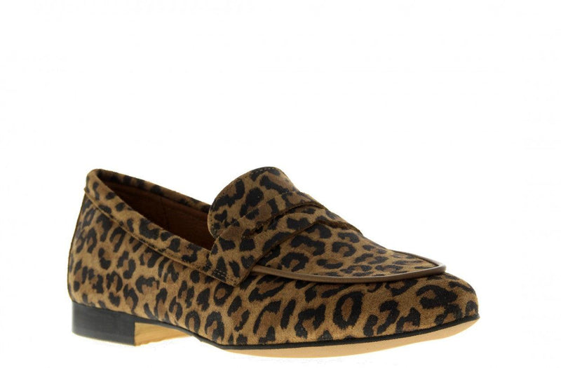 Pleun new 40-ab cognac suede leopard loafer - natural sole