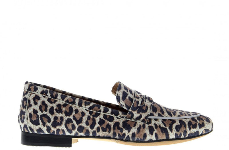 Pleun new 40-ad off white suede leopard loafer - black sole
