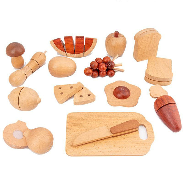 30-piece Wooden Assorted Food, Fruit & Vegetable Food Kitchen Pretend Play Playset Toy