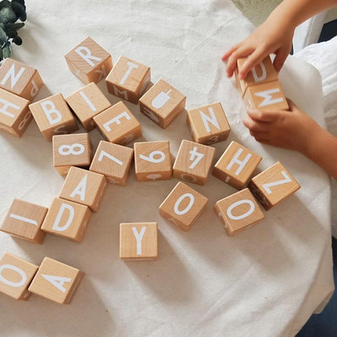 ABC 123 Wooden Alphabet Numbers Cube Blocks