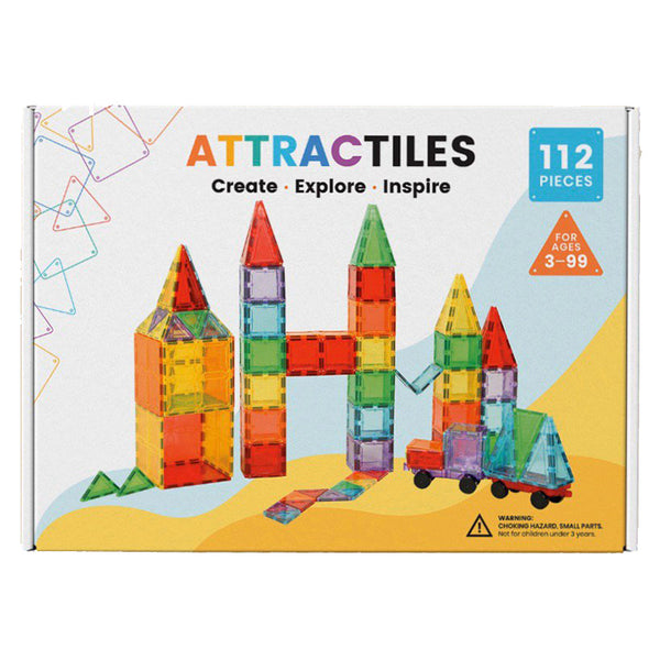 Attractiles 112 Piece Set Clear Magnetic Tiles