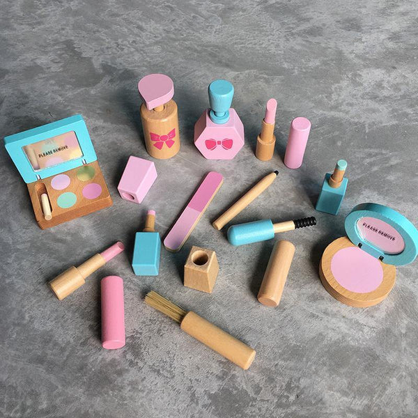 Beauty Makeup Salon Vanity Wooden Toy Set Pretend Play - Fifth Avenue Kids, subsidiary of Frockalicious