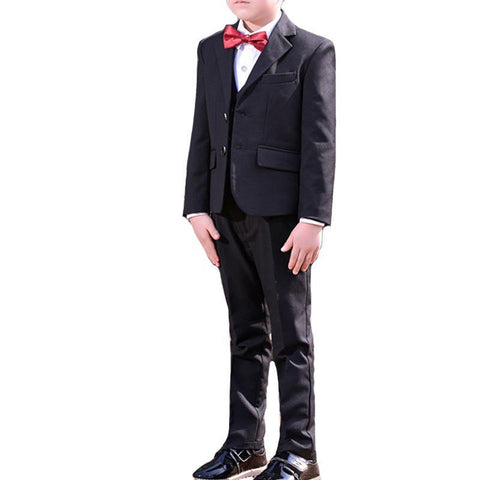 Boys Black Notched Lapel 5-piece Suit - Fifth Avenue Kids, subsidiary of Frockalicious