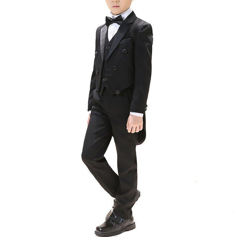 Boys Black Notch Lapel 5-piece Morning Suit - Fifth Avenue Kids, subsidiary of Frockalicious
