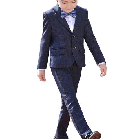 Boys Notched Lapel Houndstooth 5-piece Suit