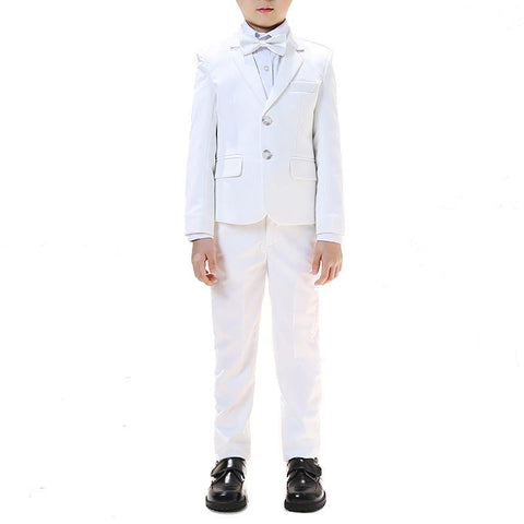 Boys White Notched Lapel 5-piece Suit - Fifth Avenue Kids, subsidiary of Frockalicious