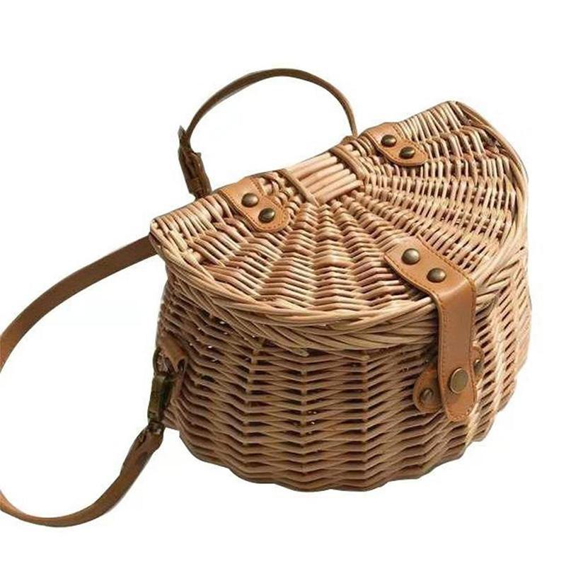 Bucket Wicker Basket Storage Bag Handmade